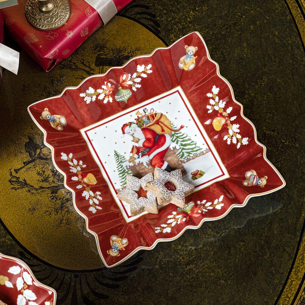 빌레로이 앤 보흐 사각형 그릇 Villeroy & Boch Toys Fantasy Square Bowl : Santa on Rooftop 9 in