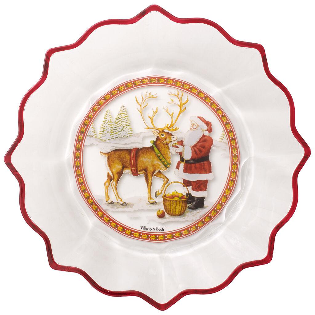 빌레로이 앤 보흐 산타 접시 Villeroy & Boch Christmas Glass Accessories Bowl clear : Santa with Reindeer