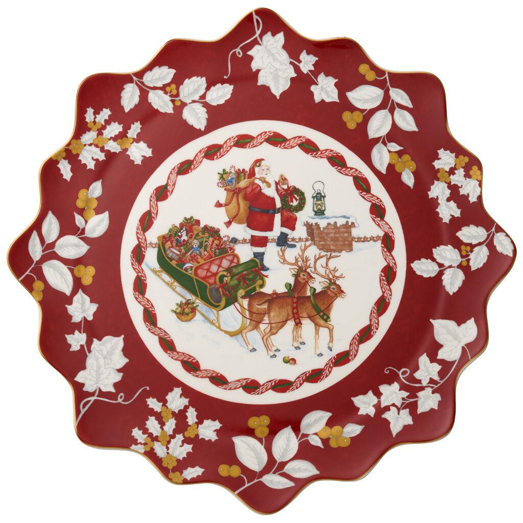 빌레로이 앤 보흐 토이즈 판타지 165인치 패스트리 접시 Villeroy & Boch Toys Fantasy Large Pastry Plate : Santa on Rooftop 165 in