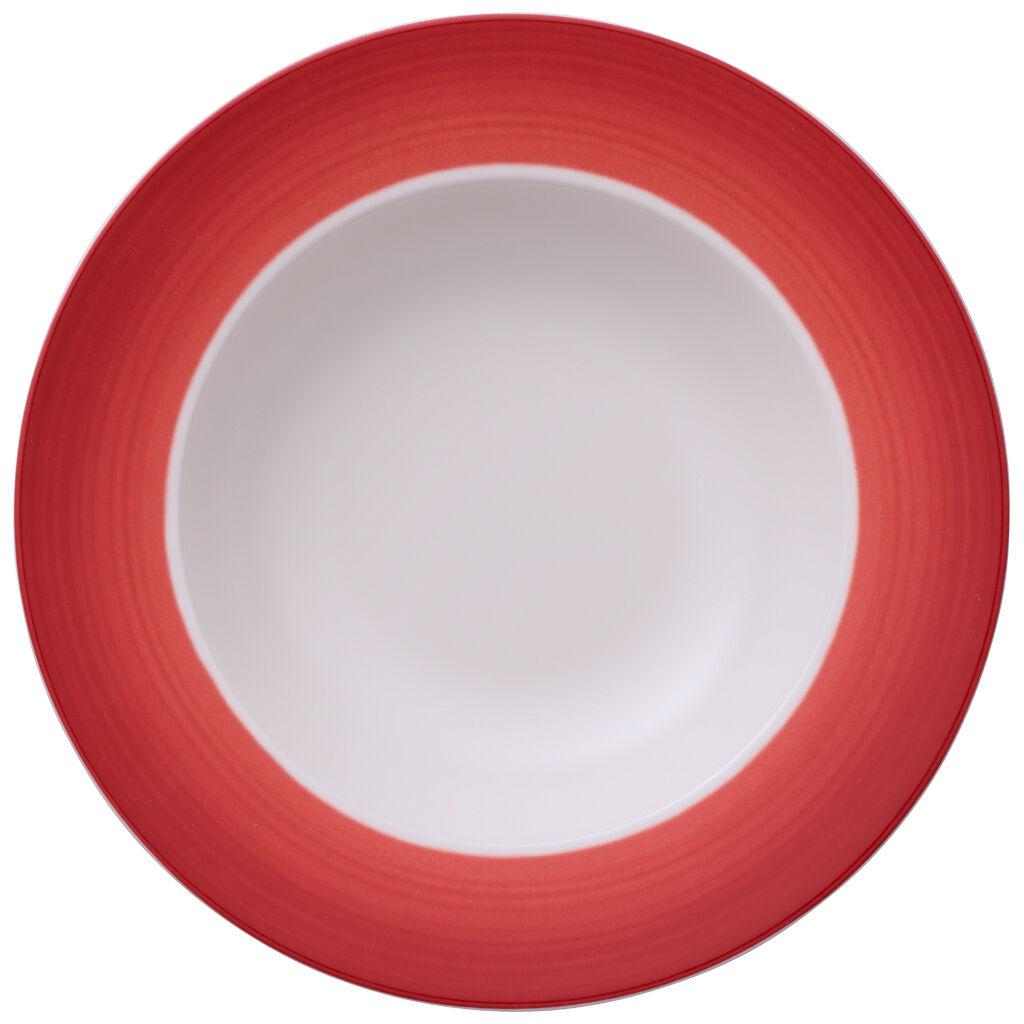 빌레로이 앤 보흐 컬러풀 라이프 딥 레드 림 수프 그릇 Villeroy & Boch Colorful Life Deep Red Rim Soup 9 3/4 in