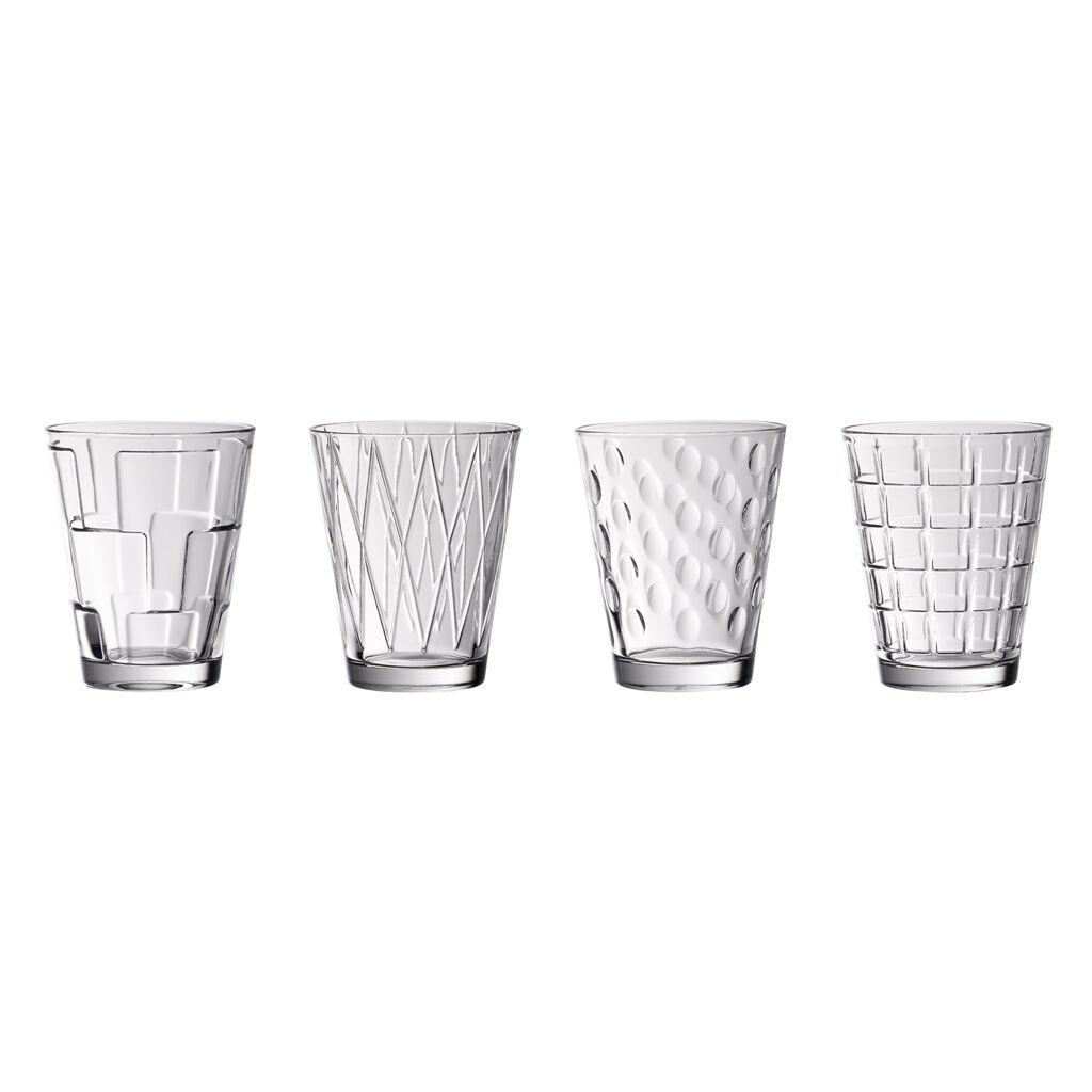 빌레로이 앤 보흐 크리스탈 유리잔 텀블러 세트 (4개 구성) Villeroy & Boch Dressed Up Crystal Glass Tumblers - Assorted Patterns : Set of 4