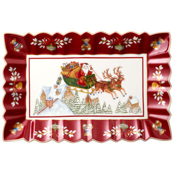 Toy's Fantasy Rectangular Cake Plate : Sleigh Ride 13.75x9 in