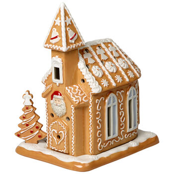 Winter Bakery Decoration Gingerbread Church 6.5x5x7.75 in