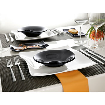 Cera Glass Black Plate rectangular 8 1/4 x 4 1/8in