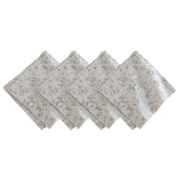 Elrene Metallic Printed Napkin:Set 4 Dove Grey 21 x 21 in