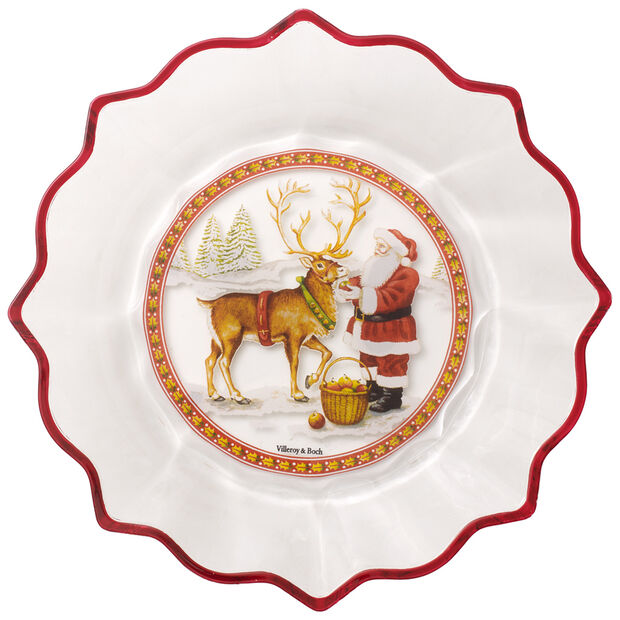 Christmas Glass Accessories Bowl clear : Santa with Reindeer, , large