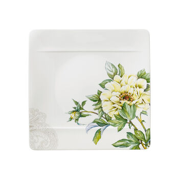 Quinsai Garden Square Dinner Plate : Peony 10.5 in