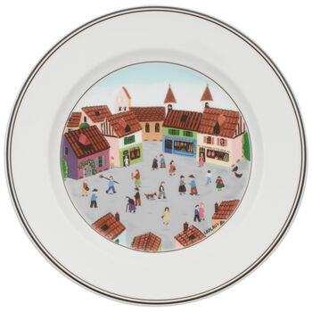 Design Naif Dinner Plate #4 - Old Village Square 10 1/2 in