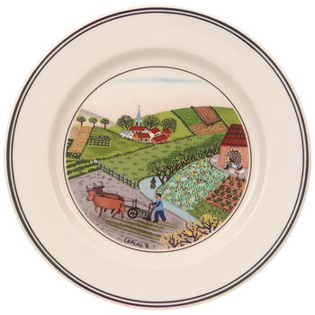 Design Naif Appetizer/Dessert Plate #4 - Plowing 6 3/4 in