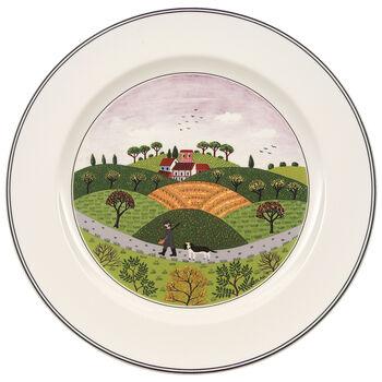 Design Naif Dinner Plate #6 - Hunter & Dog 10 1/2 in
