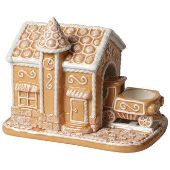 Winter Bakery Decoration Gingerbread Train Station 7.75x5x6.25 in