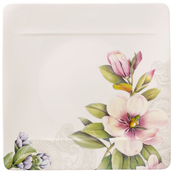 Quinsai Garden Sq Dinner Plate : Magnolia&Camellia bud 10.5 in