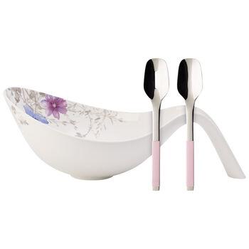 Mariefleur Gris Salad Bowl & Salad Serving Set