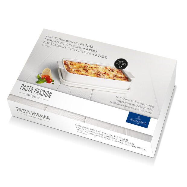 Pasta Passion Large Lasagne Dish & Lid 11.75x8in, , large