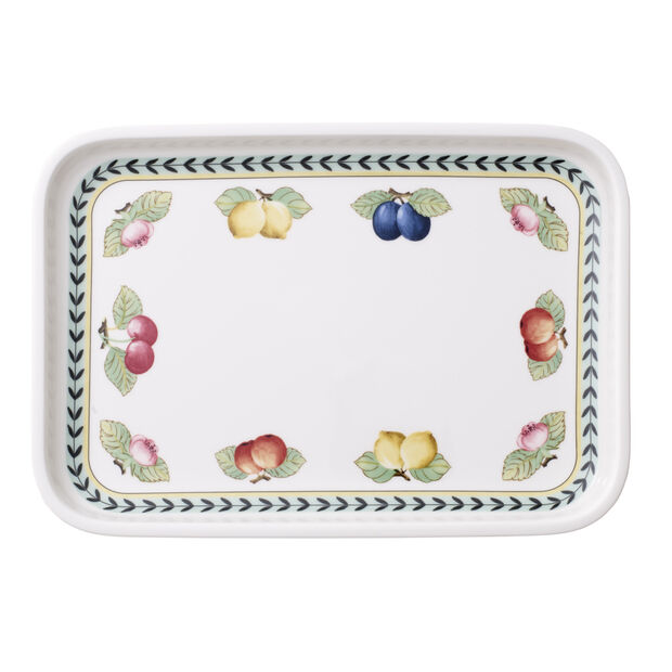 French Garden Baking Rectangular Serving Plate/Lid 12.5x8.5in, , large