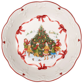 Toy's Fantasy Large Bowl : Dancing Around Tree 9.75 in