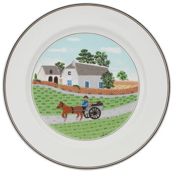 Design Naif Dinner Plate #1 - Going To Market 10 1/2 in