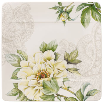 Quinsai Garden Square Salad Plate : Peony 9 in