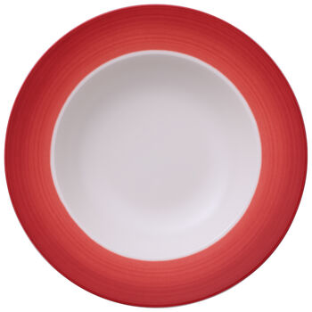 Colorful Life Deep Red Rim Soup 9 3/4 in