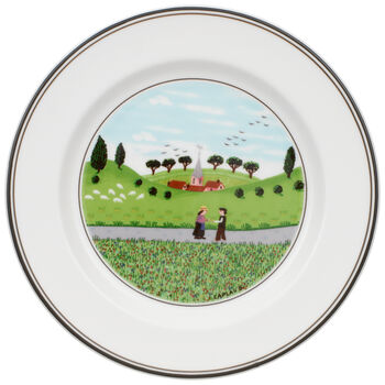 Design Naif Appetizer/Dessert Plate #6 - Boy & Girl 6 3/4 in