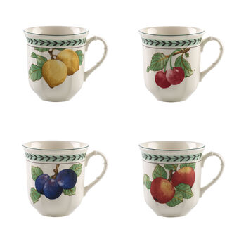 French Garden Modern Fruits Jumbo Mug : Asstorted Set of 4