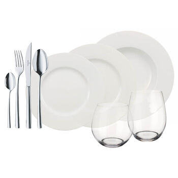 Wonderful World of White Complete Dinner Set, 36 Piece Service for 4