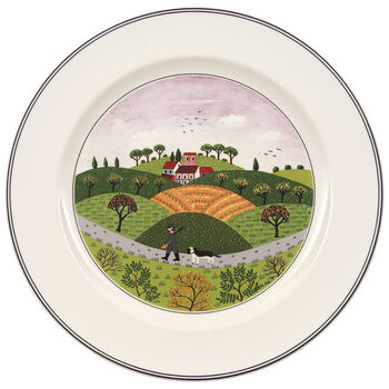 Design Naif Dinner Plate #6 - Hunter & Dog 10 1/2 in