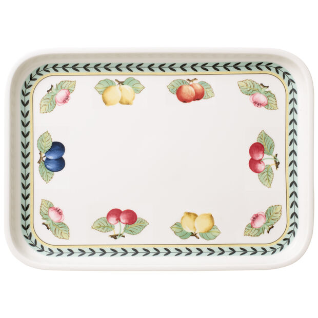 French Garden Baking Rectangular Serving Plate/Lid 14x10 in, , large