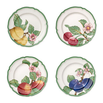 French Garden Modern Fruits Dinner Plate : Assorted Set of 4 10.25 in