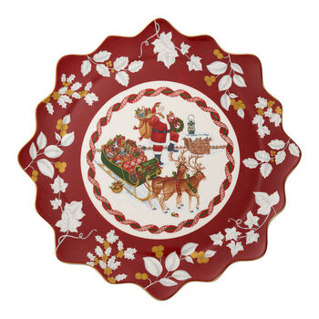 Toy's Fantasy Large Pastry Plate : Santa on Rooftop 16.5 in