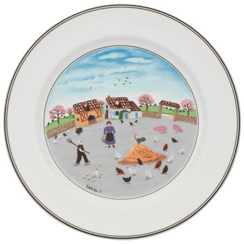 Design Naif Dinner Plate #3 - Country Yard 10 1/2 in