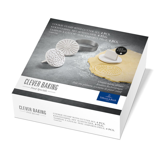 Clever Baking Cookie Cutter and Stamp Set (4 pcs) 2.75x1.5in, , large