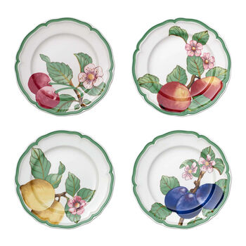 French Garden Modern Fruits Salad Plate : Assorted Set of 4 8.25 in