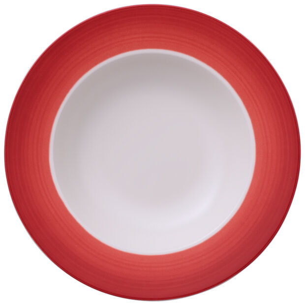 Colorful Life Deep Red Rim Soup 9 3/4 in, , large