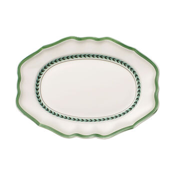 French Garden Green Line Oval Platter 14.5 in