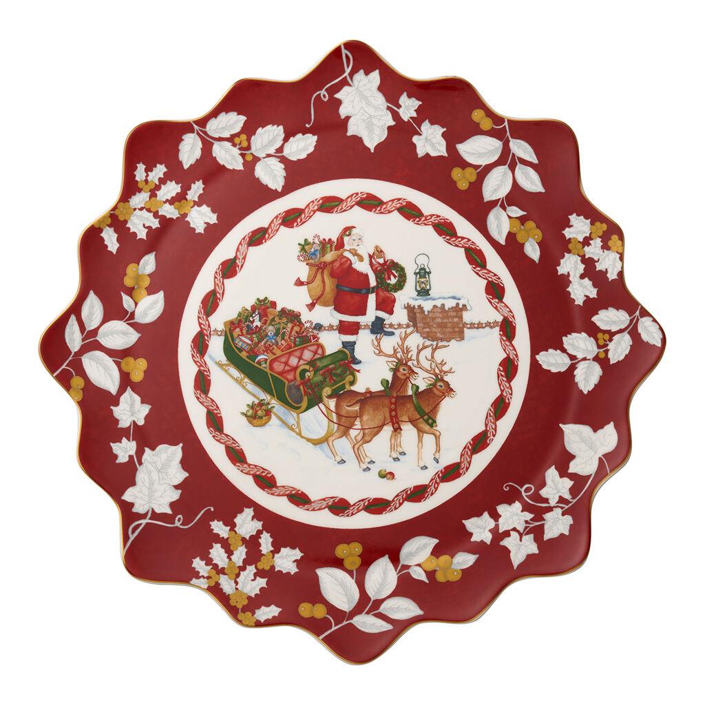 빌레로이 앤 보흐 '토이즈 판타지' 접시 Villeroy & Boch Toys Fantasy Large Pastry Plate : Santa on Rooftop 16.5 in