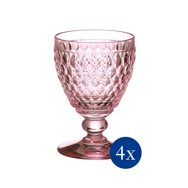 Boston Colored Goblet: Rose, Set of 4, , large