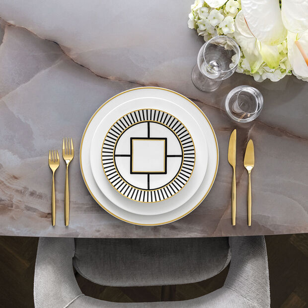 MetroChic Salad Plate: Stripe Rim, , large