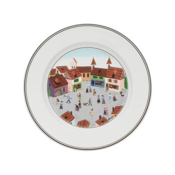 Design Naif Dinner Plate #4 - Old Village Square