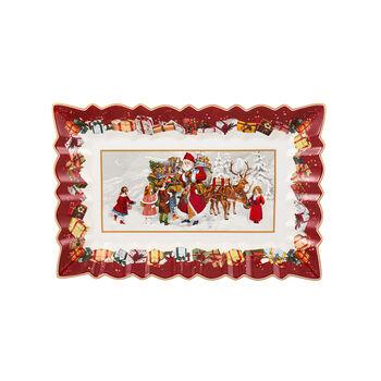 Toy's Fantasy Rectangular Cake Plate : Santa & Kids