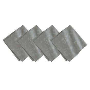 Metallic Printed Napkin: Dark Grey, Set of 4