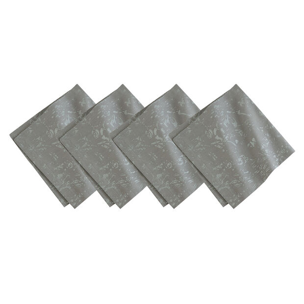 Dark Grey Metallic Dinner Napkin Set, , large