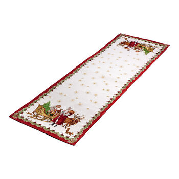 Toy's Fantasy Extra Long Embroidered Runner: Santa & Sleigh