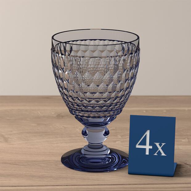 Boston Colored Goblet: Blue, Set of 4, , large