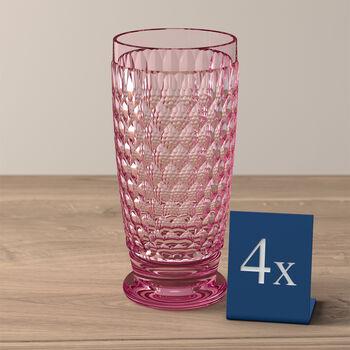 Boston Colored Highball: Rose, Set of 4