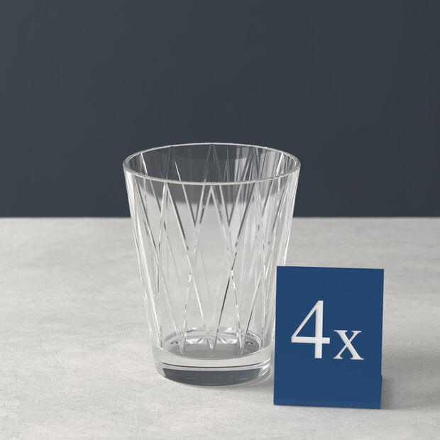 Dressed Up Crystal Glass Tumbler: Rhombus, Set of 4, , large