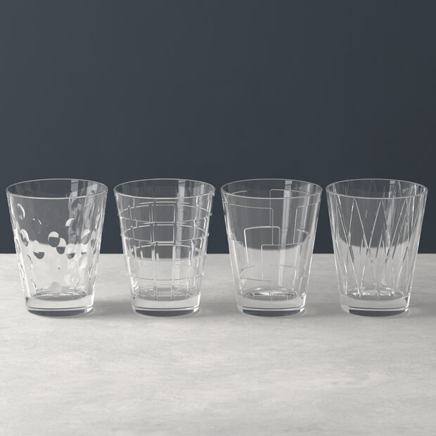 Dressed Up Crystal Glass Tumblers: Assorted Patterns, Set of 4, , large