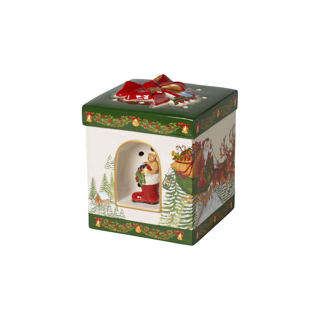 빌레로이 앤 보흐 스퀘어 기프트 박스 장식품 Villeroy & Boch Christmas Toys Large Square Gift Box : Santa Claus 6.25x8 in