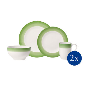 Colorful Life Green Apple 8 Piece Dinner Set for 2