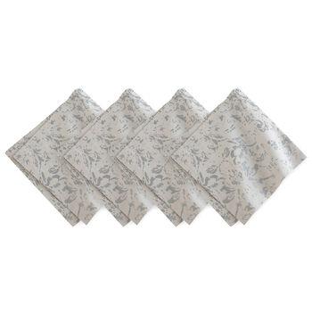 Metallic Printed Napkin: Dove Grey, Set of 4